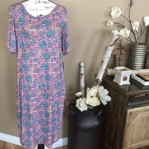 NEw LulaRoe Julia dress size XL pink turquoise